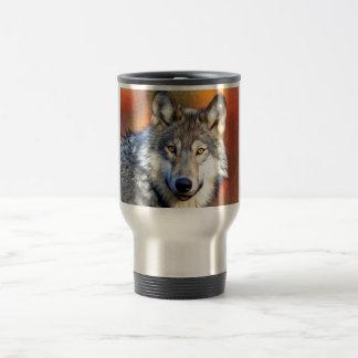 Mug De Voyage Peinture d'art de loup gris