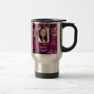 Mug De Voyage Photo personnalisée florale rose