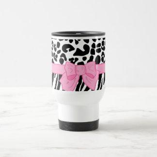 Mug De Voyage Poster de animal Girly de zèbre de léopard et arc
