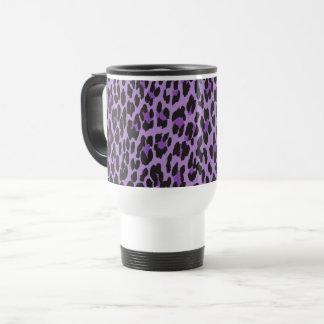 Mug De Voyage Poster de animal, taches de léopard - noir pourpre