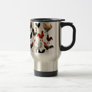 Mug De Voyage Poulets rustiques vintages de collage de coq