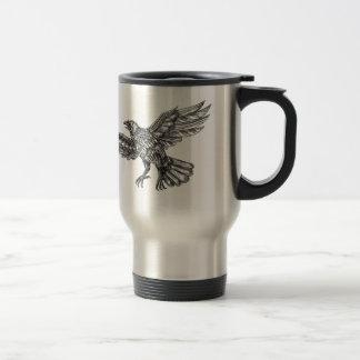 Mug De Voyage Raven volant vers le haut du tatouage géométrique