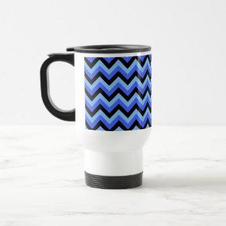 Mug De Voyage Rayures bleues et noires de zigzag