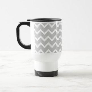 Mug De Voyage Rayures grises et blanches de zigzag
