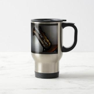 """Mug De Voyage - Saxophone antique """"silencieusement de attente"""""""