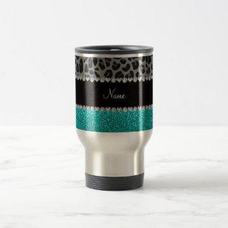 Mug De Voyage Scintillement gris nommé personnalisé de turquoise
