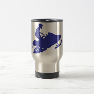 Mug De Voyage Snowmobiler/traîneau bleu marine