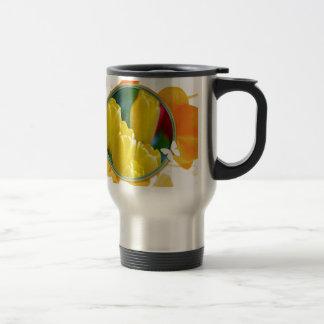Mug De Voyage Tulipes jaunes dans le cadre rond coloré