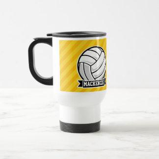 Mug De Voyage Volleyball sur les rayures jaunes