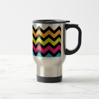 Mug De Voyage Zigzags noirs de Chevron avec des couleurs