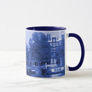 Mug Delft-Bleu-Regard de paysage urbain d'Amsterdam