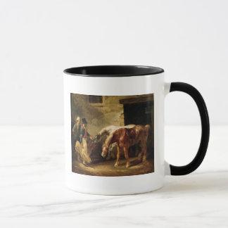 Mug Deux chevaux de courrier à la porte d'une écurie