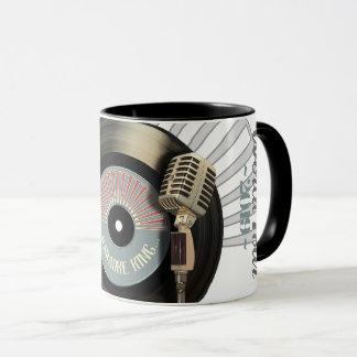 Mug Disque vinyle drôle du Roi Retro de karaoke