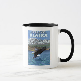 Mug Eagle chauve plongeant - Fairbanks, Alaska