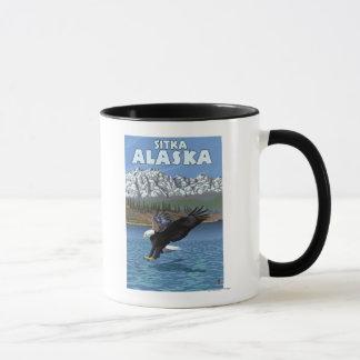 Mug Eagle chauve plongeant - Sitka, Alaska