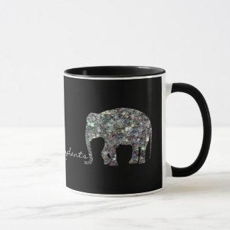 Mug Éléphants argentés colorés scintillants de