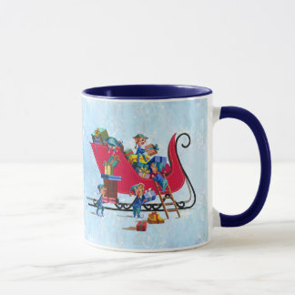 Mug ELFES REMPLISSANT SLEIGH de PÈRE NOËL par SHARON