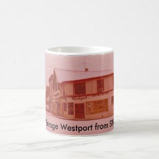 Mug Étiquette vintage de bagage de Westport - endroit