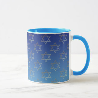 Mug Étoile de David sur l'arrière - plan bleu