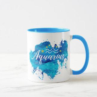 Mug Étoiles bleues d'or d'aquarelle de Verseau de
