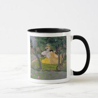 Mug Étreinte de Radha et de Krishna dans un verger de