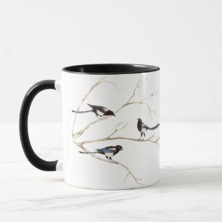 Mug Famille originale de pie d'aquarelle, oiseau