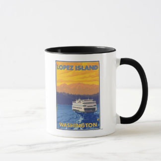 Mug Ferry et montagnes - île de Lopez, Washington