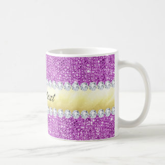 Mug Feuille d'or et diamants pourpres de paillettes