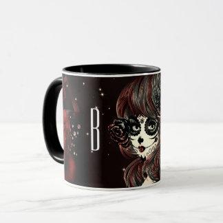 Mug Fille noire rouge de crâne de sucre de roses