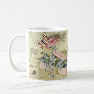 Mug Fiole vintage avec des fleurs, papillons, roses,