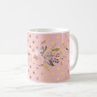 Mug Fleurs adorables de pois d'or de Faux