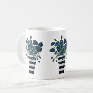 Mug Fleurs bleues avec des beaux-arts rayés de vase