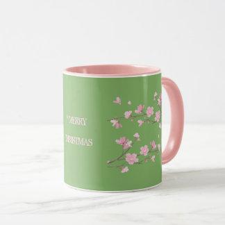 Mug Fleurs de cerisier - vert - Joyeux Noël