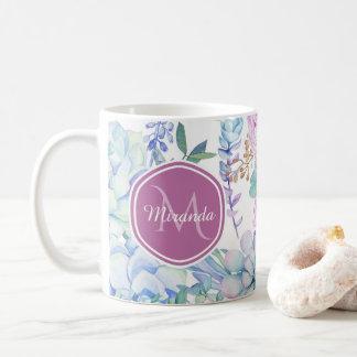 Mug Floral succulent pourpre et bleu élégant avec le