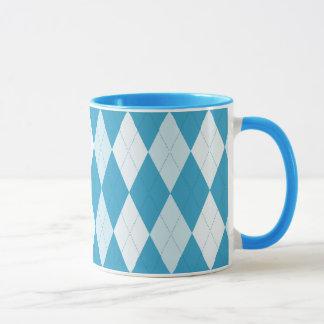 Mug Forme à motifs de losanges de diamant de bleu de
