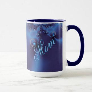 Mug Fractale bleue avec les coeurs au néon