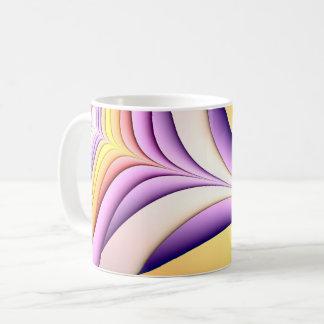 Mug Fractale colorée par pastel. Jaune, rose, pourpre