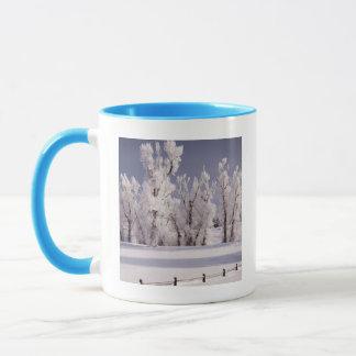 Mug Frost a couvert les arbres et la barrière, le