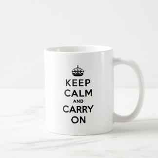Mug Gardez le calme et continuez le texte noir