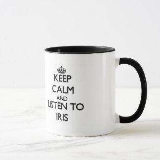 Mug Gardez le calme et écoutez l'iris