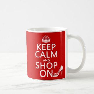 Mug Gardez le calme et faites des emplettes dessus -