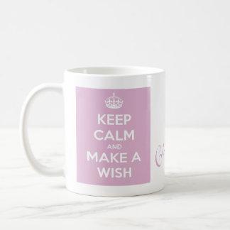 Mug Gardez le calme et faites un rose de souhait