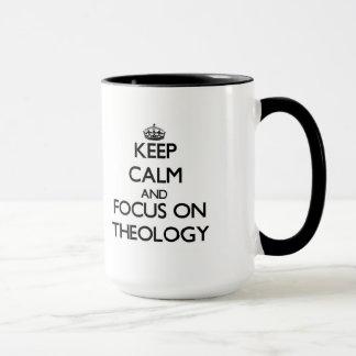 Mug Gardez le calme et le foyer sur la théologie