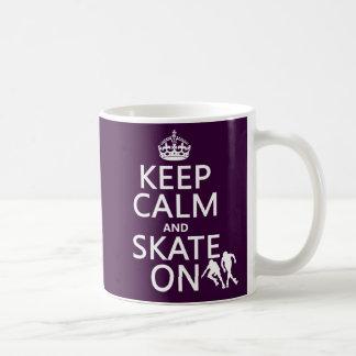 Mug Gardez le calme et patinez sur (les rollerskaters)
