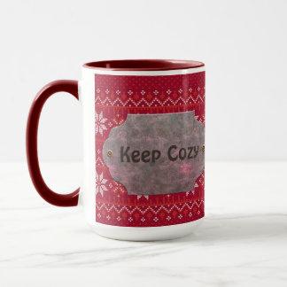 Mug Gardez le regard rouge confortable de Knit
