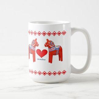 Mug Grand-maman de coeurs de cheval de Dala de Suédois