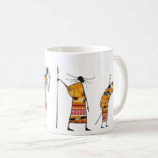 Mug Graphique africain, chasseurs tribaux