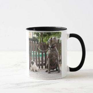 Mug Great dane bleu et chiens de carlin sur des