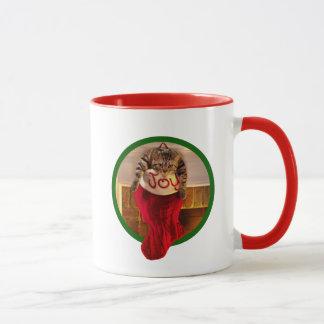 Mug Gros chat dans le bas de Noël