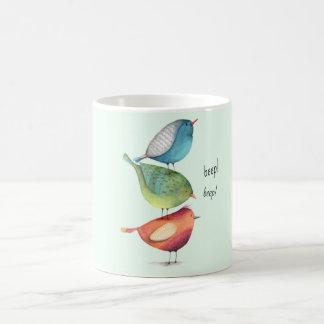 Mug Gros oiseaux mignons se tenant sur l'un l'autre